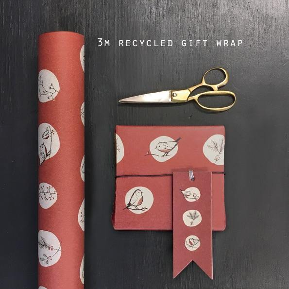 3791 Roll of Kraft paper-Red robins & rosehips - Mrs Best Paper Co.