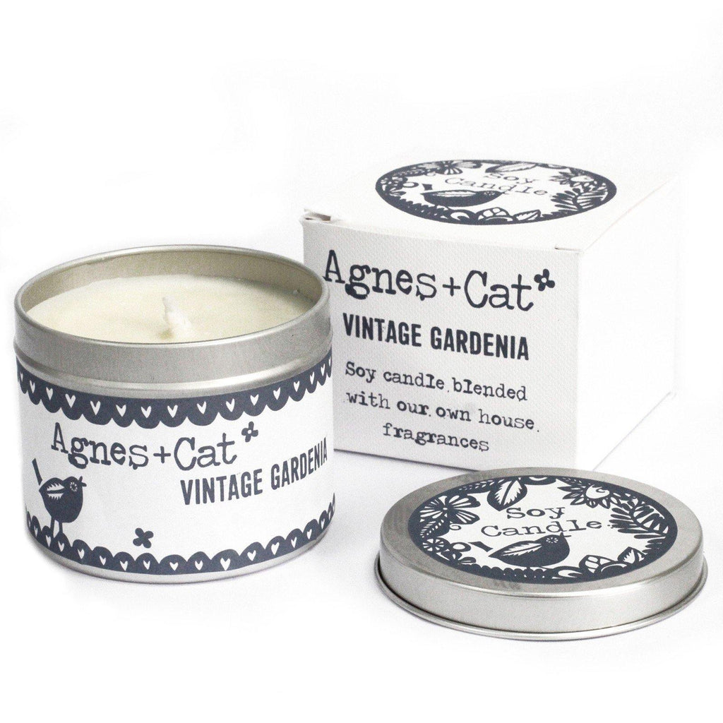 200ml Soy Wax Tin Candle - Vintage Gardenia - Mrs Best Paper Co.