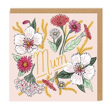 Mum Floral Square Greeting Card