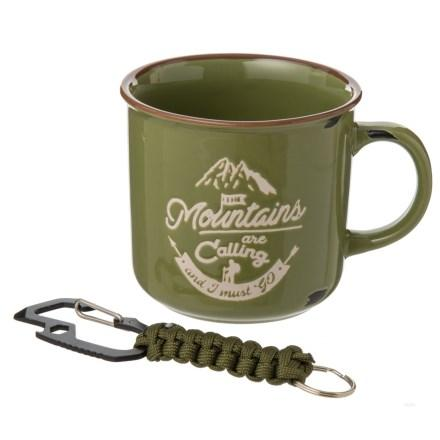 Gentlemen's mug with carabiner bottle opener