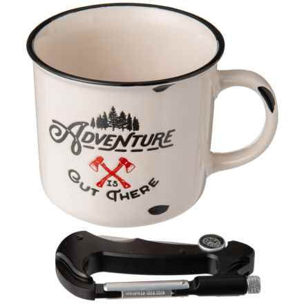 Gentlemen's mug with carabiner multi-tool compass