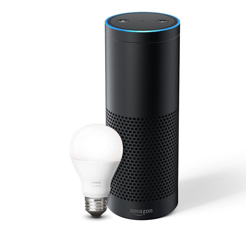 Echo Plus: With built-in smart home hub - Includes Philips Hue White E27 Edison Screw Light Bulb - Spend Bitcoin