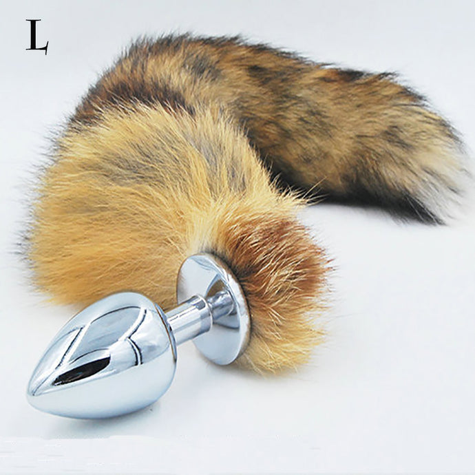 Big Anal plug fox tail Stainless steel butt plug cat tail anal plug fox tail