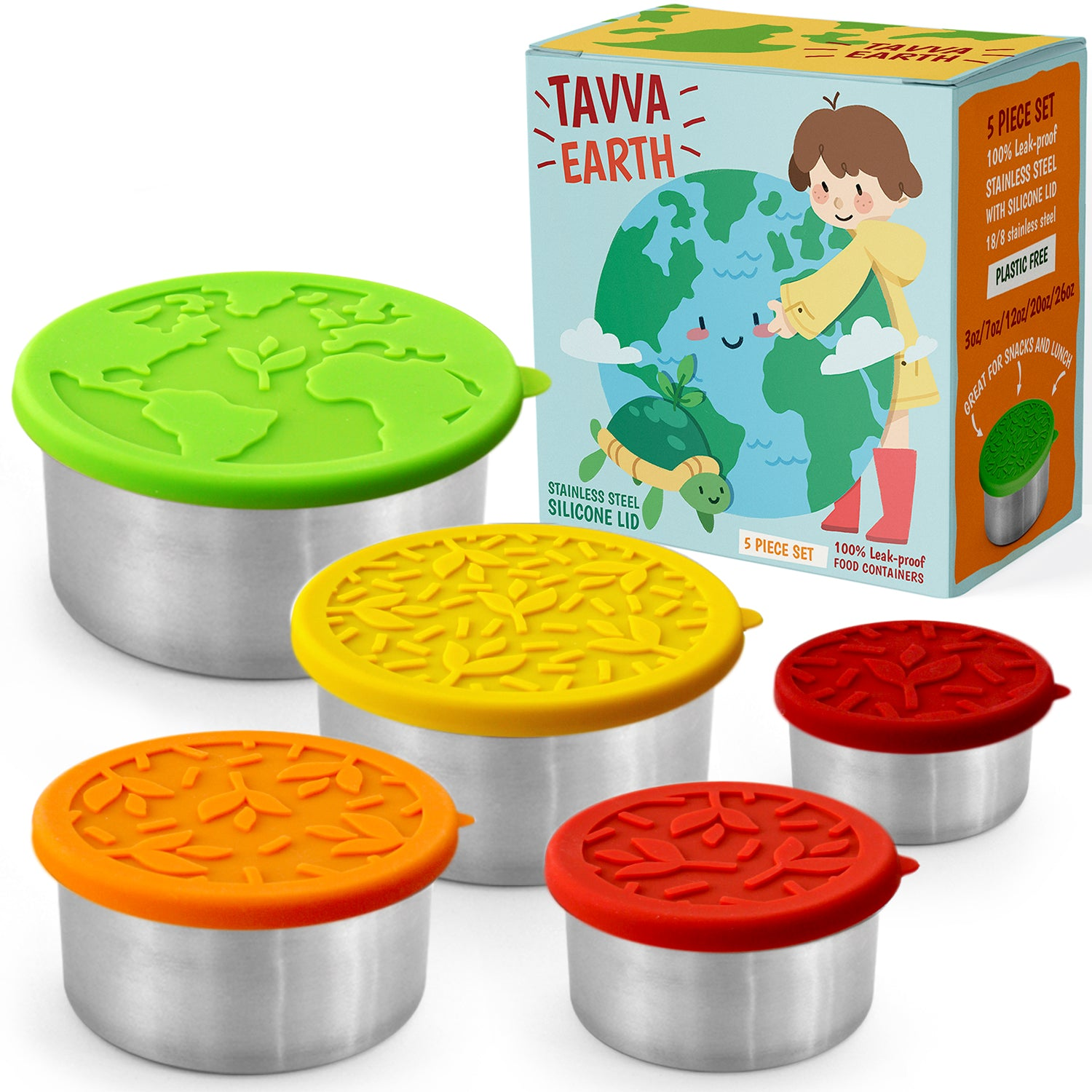 Tavva® Earth Deluxe Stainless Steel Containers Set of 5