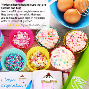 Silicone Cupcake Baking Cups Liners, 12 Pack