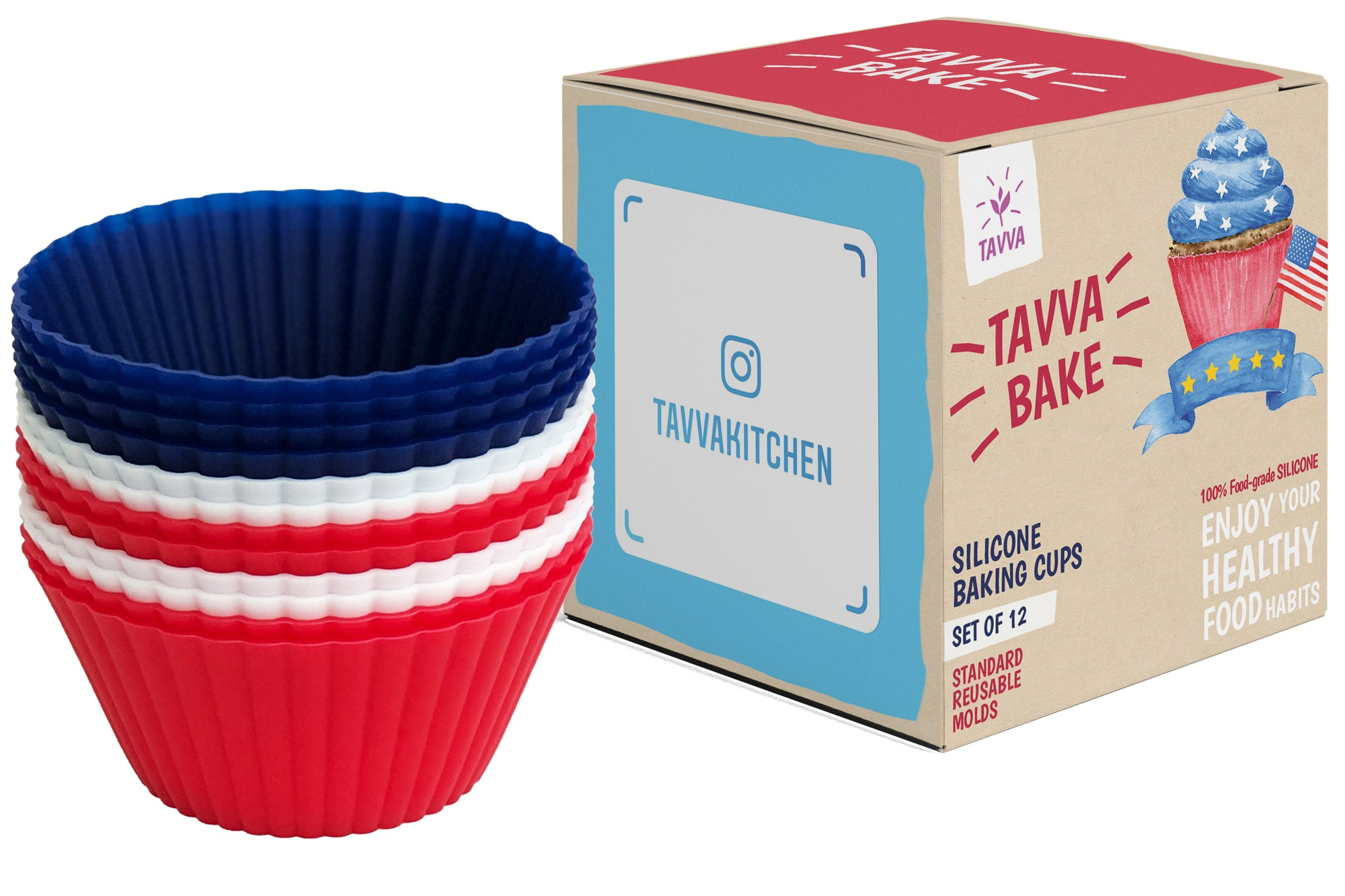 Silicone Cupcake Baking Cups Liners, 12 Pack, Blue/White/Red