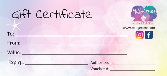 Gift Voucher! - MillyCruze Clothing