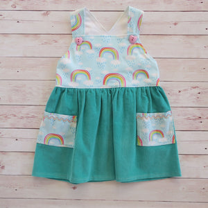 Teal Corduroy & Rainbows - Sizes 00, 18 months, 3 & 4 - MillyCruze Clothing