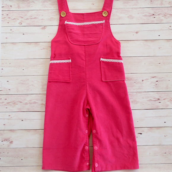 Pink Overalls Corduroy  - Sizes 1 & 2 - MillyCruze Clothing