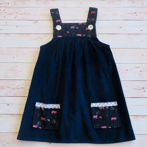 Navy Corduroy Pinafore with pockets - Size 1 - MillyCruze Clothing