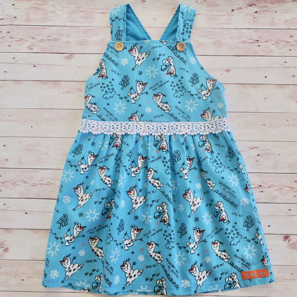 Olaf Frozen Pinafore - size 5 - MillyCruze Clothing
