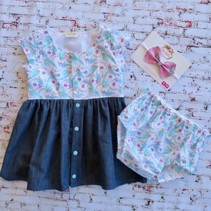 Denim & Eucalyptus Dress & Nappy cover - Size 2 **Bonus Headband** - MillyCruze Clothing