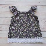 Paradise tops in Paisley with Lace. - MillyCruze Clothing