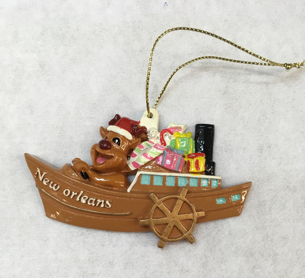 Paddlewheel and Reindeer Ornament
