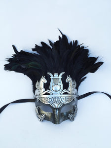 Greek Style Warrior Mask with Feathers