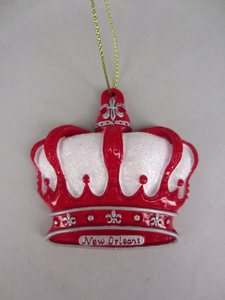 Red and White Glitter Crown with Fleur de Lis Ornament