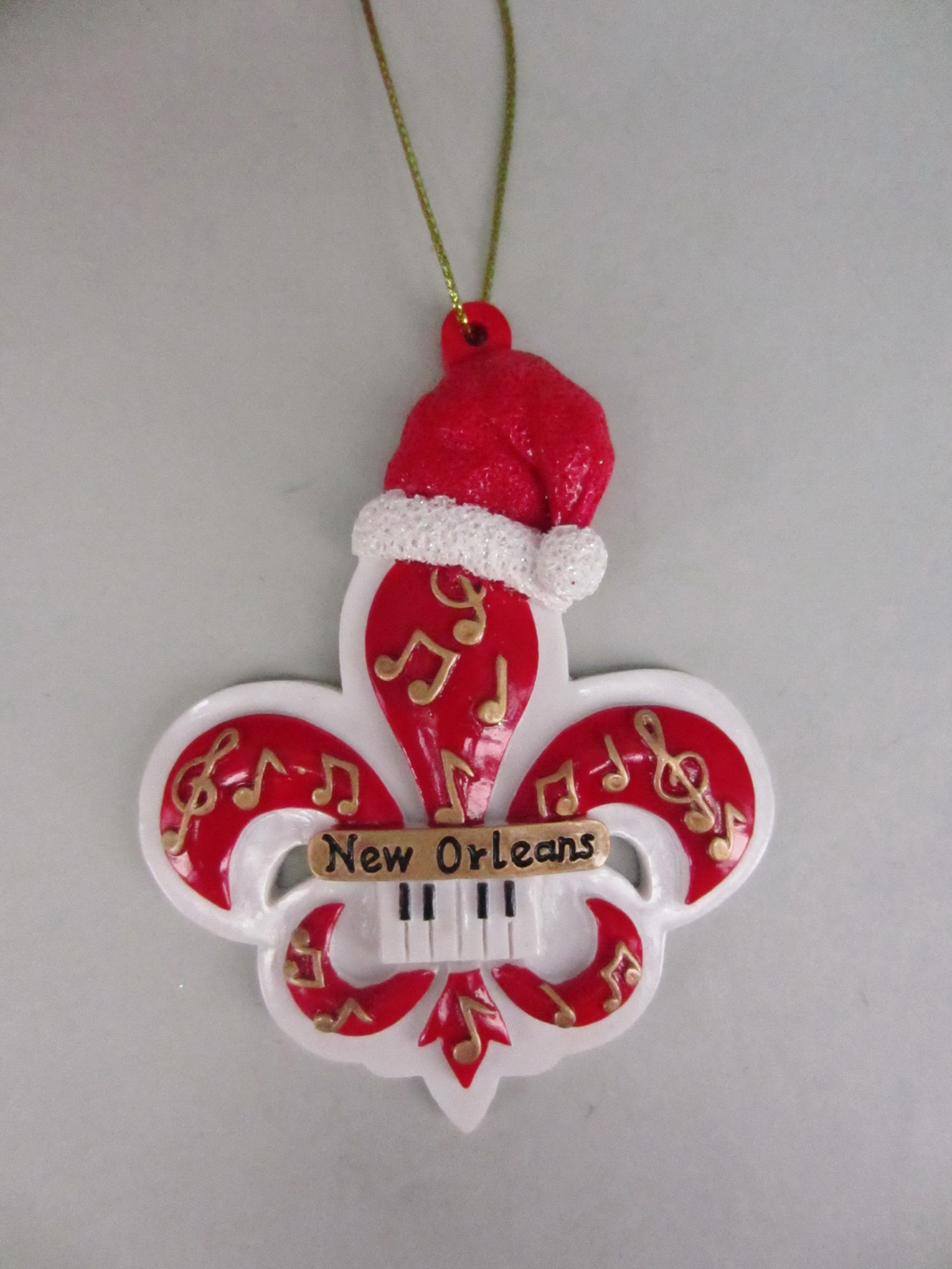 Red and Gold Fleur de Lis Christmas Ornament
