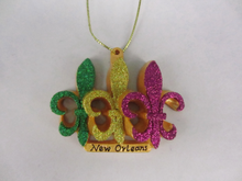 Glitter Fleur de Lis Trio Ornament (Purple/Green/Gold)