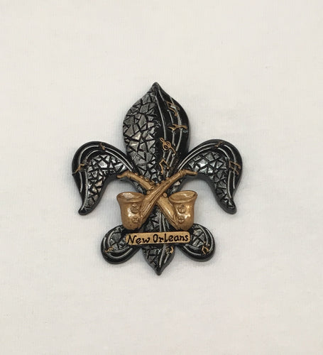 Fleur de Lis Mosaic Black and Gold with Saxophone Magnet
