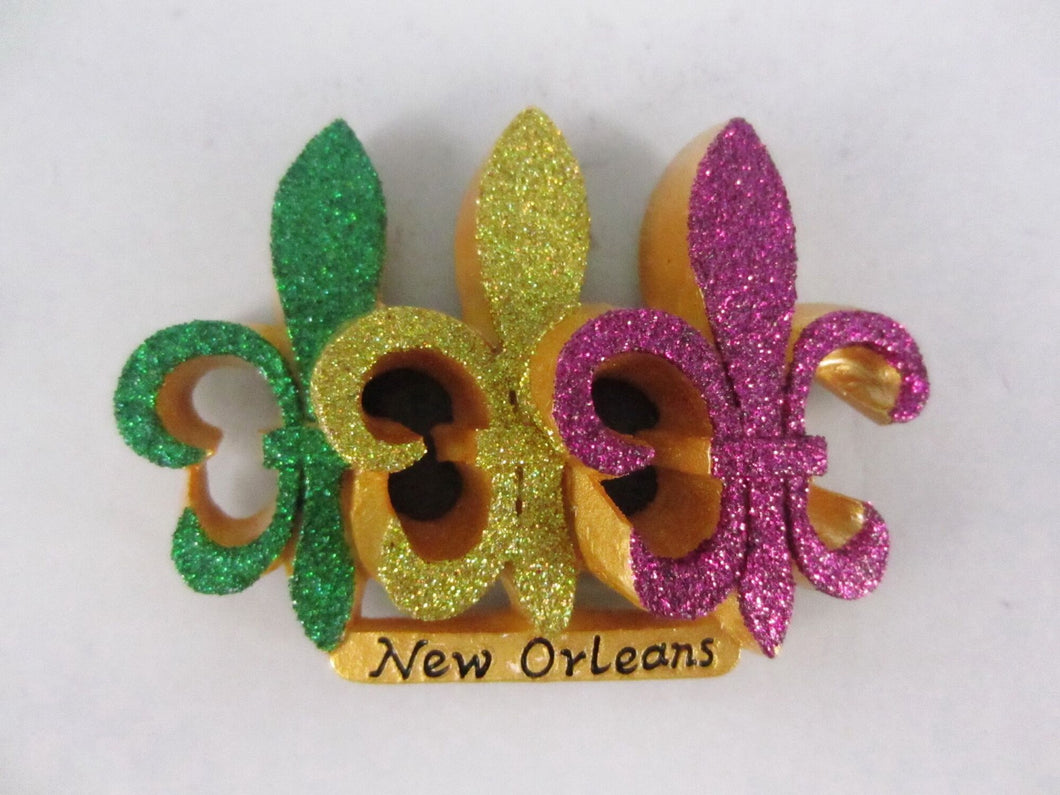 Fleur de Lis Trio Magnet in Purple/Green/Gold Glitter
