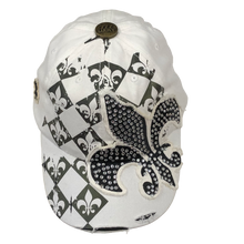 Adult Rhinestone Fleur de Lis Cap With Varied Fleur de Lis Print Around Cap - Available in White, Black, Orange and Green
