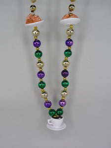 Coffee and Beignets (Cafe du Monde) on a Purple Green and Gold Specialty Bead