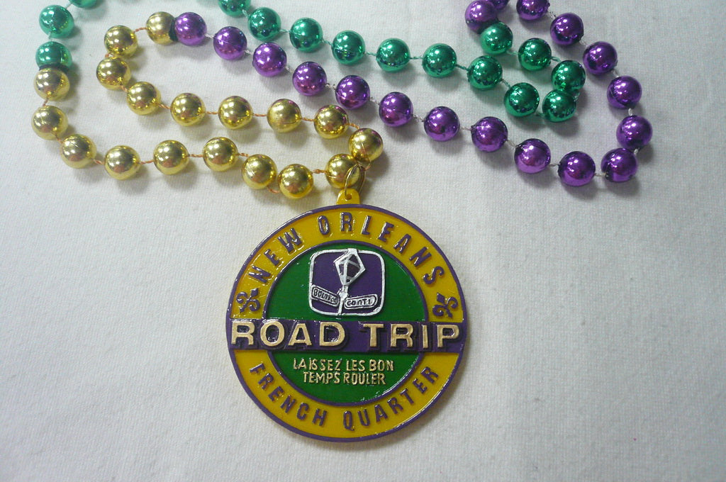New Orleans Roadtrip Let the Good Times Roll Medallion on a Purple Green Gold Specialty Bead