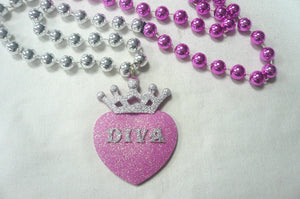 """Diva"" Glitter Medallion on a Pink and Silver Specialty Bead"