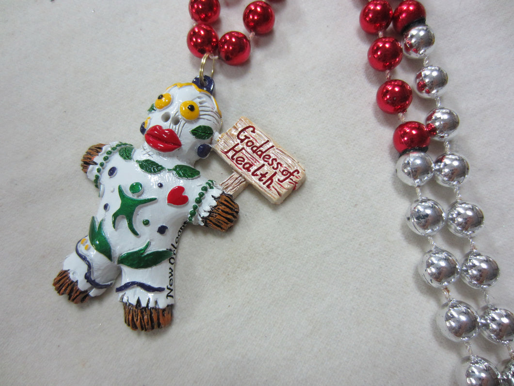 Goddess of Health Voodoo Medallion on a Red and Silver Specialty Bead