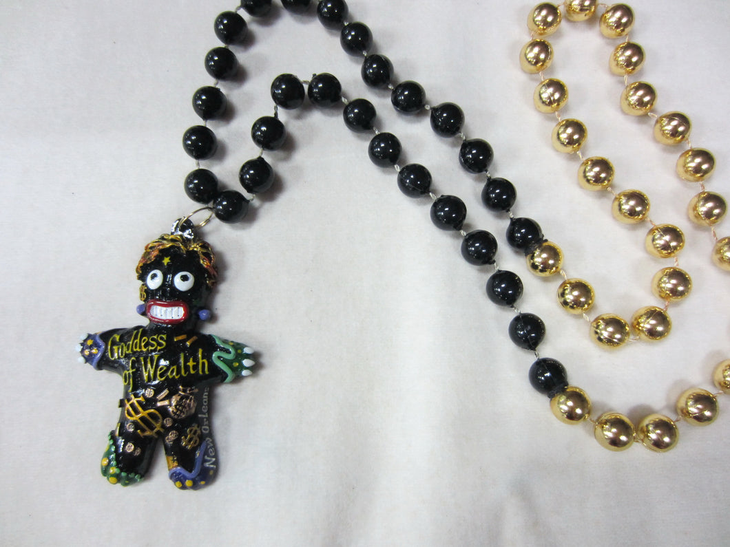 Goddess of Wealth Voodoo Medallion on a Black and Gold Specialty Bead