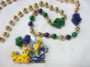 Mardi Gras Jester Shoe with Comedy and Tragedy Side Medallions on a Purple Green Gold Specialty Beads