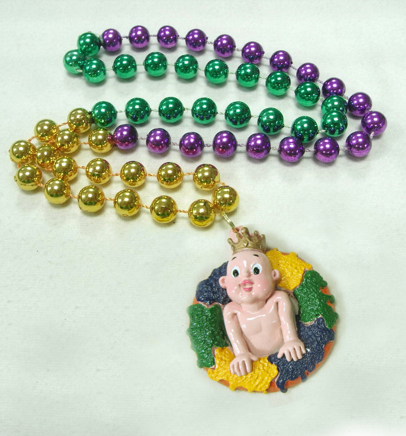 Mardi Gras King Cake and Baby on a Purple Green Gold Specialty Bead