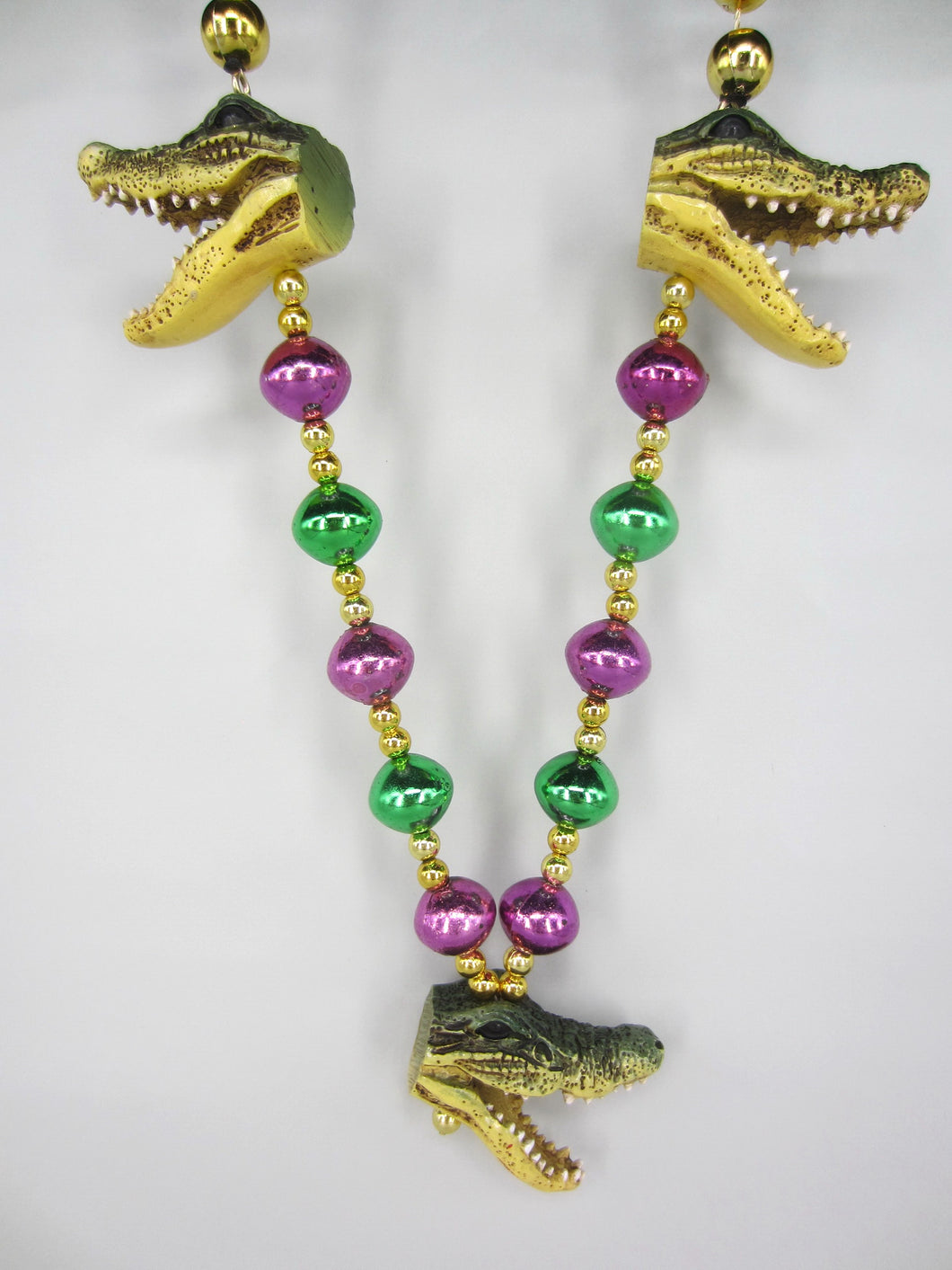 Alligator Trio on a Purple Green Gold Specialty Beads