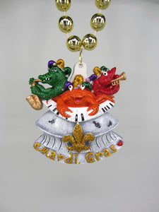 New Orleans Superdome with Mardi Gras Crawfish, Crab and Alligator Band on a Gold Specialty Bead
