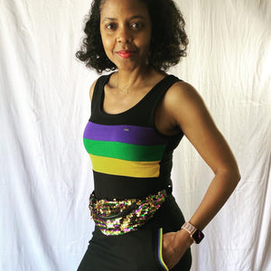 Reversible Magic Sequin Fanny Pack in Purple, Green & Gold W/Adjustable Strap