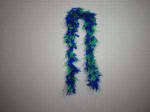 Royal Blue And Green Two Tone Feather Boas With Matching Foil