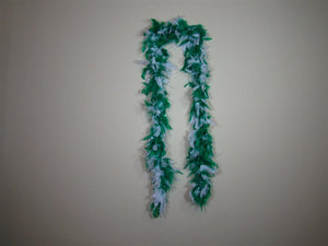 Bright Green And White Two Tone Feather Boas With Matching Foil