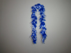 Royal Blue And White Two Tone Feather Boas With Matching Foil