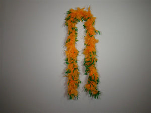 Orange Feather Boas With Green Tips