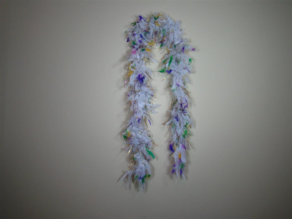 Mardi Gras Colors - White Feather Boas with Purple Green Gold Tips with Foil