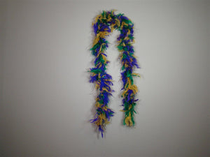 Purple Green Gold Feather Boas With Matching Foil