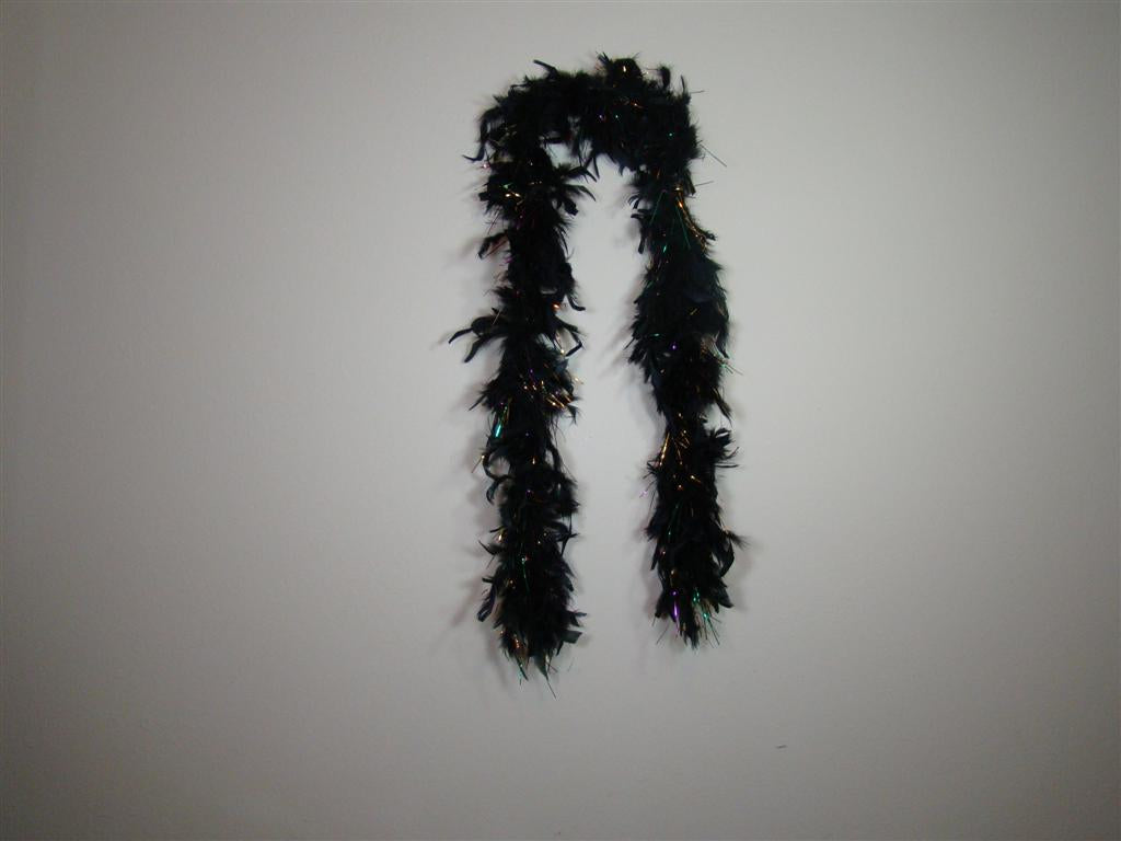 Black Feather Boas With Purple Green Gold Foil