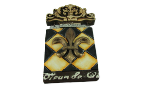 Checkered Fleur de Lis Plaque