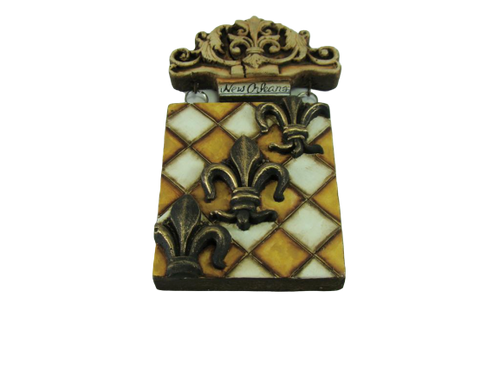 Checkered Fleur de Lis Trio Plaque