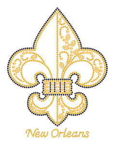 Fleur de Lis Gold and Black Border Rhinestone with Swirls Tshirt