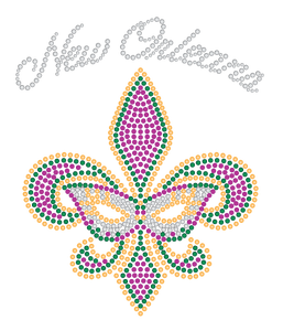 Fleur de Lis Purple Green Gold Rhinestones with Mask Tshirt