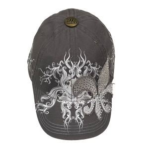 Adult Gray Military Style Rhinestone Fleur de Lis Cap With a Scroll Design