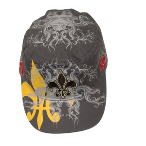 Adult Gray Fleur de Lis Cap with Fleur de Lis Embroidered on the Front and Sides With a Larger Fleur de Lis and Scroll Design