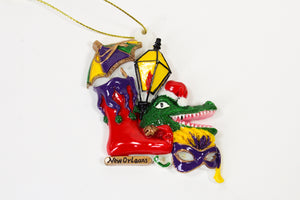 Jestershoe with Alligator, Lamp and Mask Ornament