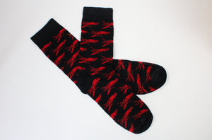 Crawfish Pattern on Black Socks (Adults and Childrens)